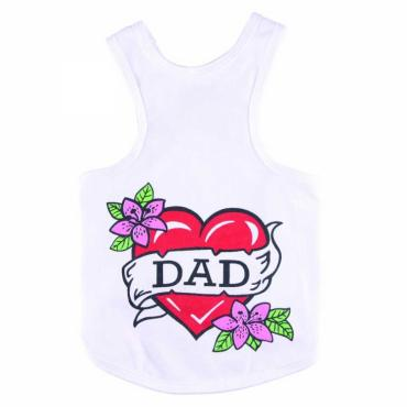 Hundetanktop Love Dad weiß
