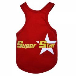 Hundeshirt Tank Top Super Star rot